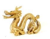 asian dragon figurine, dragons, asian art, sculpture, metallic gold decor, chinese new year