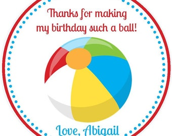 Beach Ball Party Favor Tags