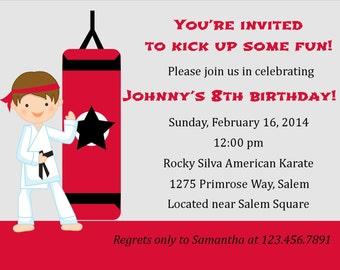 Karate Birthday Invitation  (Digital File) / Karate Invitation / Karate Birthday Party / Girls Karate Party / Karate Party Invitation