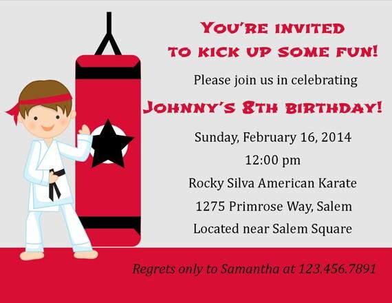 Karate Birthday Invitation Digital File Karate Invitation