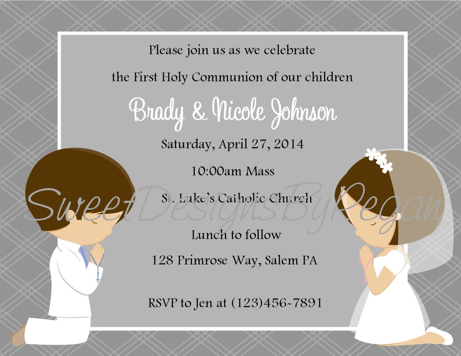il_fullxfull.503104097_mkhg twins 1st communion etsy,First Communion Invitations For Boy Girl Twins