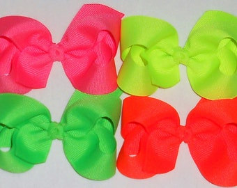 Neon Baby Bow Neon Hair Bow Neon Bow Neon Hair Clip Neon Boutique Bow Neon Toddler Bow Neon Pink Bow Neon Yellow Neon Orange Bow Neon Green