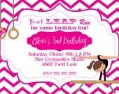 Printable 5X7 Gymnastics Birthday Invitation brown hair & light skin gymnast...by Party Like Paula
