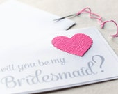 Will you be my bridesmaid card - Maid of Honor Card - custom wedding card- hand stitched