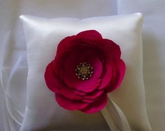 White Ring Pillow with Hot Pink Silk Dupioni Handmade Flower