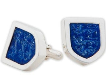 Lapis Cufflinks Three Lions Handmade Engraved Intaglio Sterling Silver 925
