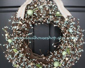 Robin's Egg Blue and White Easter Egg Berry Wreath