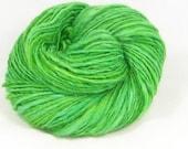 Fresh green  -  Hand  spun yarn. Merino cross Leicester longwool (English Leicester) single. hand dyed, Pure Australian  wool.