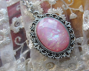 Petite pink Moonstone opal Cameo Ladies Silver Filegre art designer Necklace Pendant Mothers Day