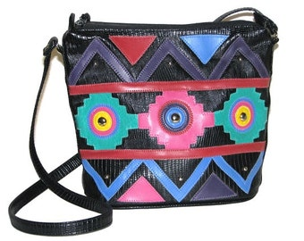 Vintage 80s 90s JACKSON Black Faux Leather Bag w/ Colorful Southwest Design