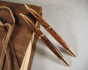 Exotic Bocote Comfort pen & pencil set with Gold hardware