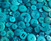"""100 Mixed Teal and Turquoise Buttons - bulk buttons with gift wrap, multi sizes 1/4"""" up to 1-1/2"""""""