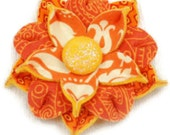 Orange, Yellow & White Floral Print Flower Applique, Large 3 inch size, Handmade from Felt and Fabric with a glittery fabric covered button