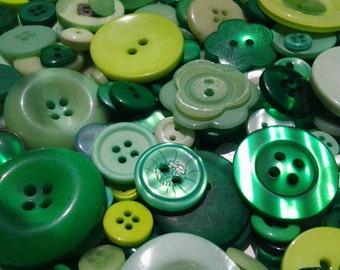 100 Mixed Garden Green Buttons - olive green, grass green, spring green, dark green, moss green and more