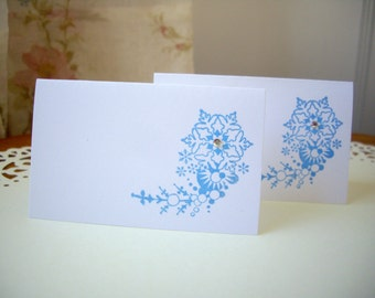 snowflake place cards, winter place cards, christmas place cards, party favor