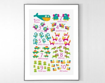 PORTUGUESE Numbers Poster with animals from 1 to 10 - BIG POSTER 13x19 inches
