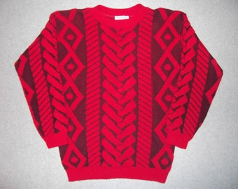 Amazing 80s 1989 Spinal Column Sweater Hipster Red Black Tacky Gaudy Ugly Halloween Christmas Party X-Mas Made In USA Waem S Small M Medium