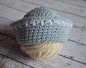 Crocheted Sailor Hat Light Blue Newborn Photo Prop 0 - 3 Months