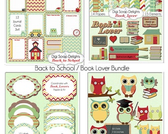 SALE Save 40%: Book Lover Clip Art, School Owls, School  Digital Scrapbook Bundle,  Project Life Cards, Book Clipart, Digital Papers