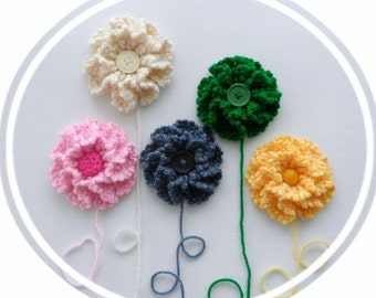 Crochet Applique -  Crochet Brooch - Ruche Petal Multicolored Flowers  - Any Colour - Made to Order