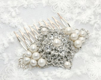 Bridal Hair Comb, Wedding Hair Comb, Freshwater Genuine Pearls Hair Comb, Rhombus Rhinestone Crystal Hair Comb, Rhombus Freshwater Pearls