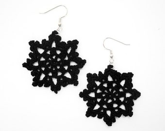 SALE - 10% OFF -- Black Lace Earrings - Star Flower, Large Dangle, Egyptian Cotton - Crochet Statement Fashion Gothic Halloween Elegant