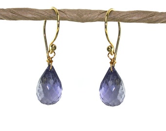 Iolite Gemstone Earrings. Water Sapphire Earrings. In 22k gold Vermeil or Sterling Silver. Birthstone Options