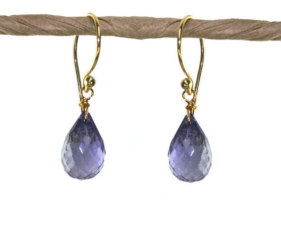 Iolite Gemstone Earrings. Water Sapphire Earrings. In 22k gold Vermeil or Sterling Silver. Birthstone Options