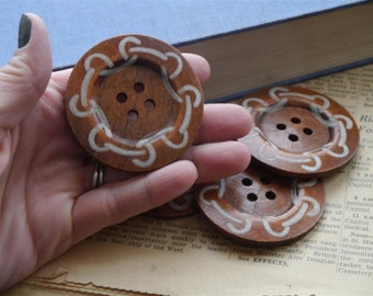 5 pcs LARGE Huge Wood Painted Nautical Rope Scroll Buttons 6cm over 2 inch (WB925)
