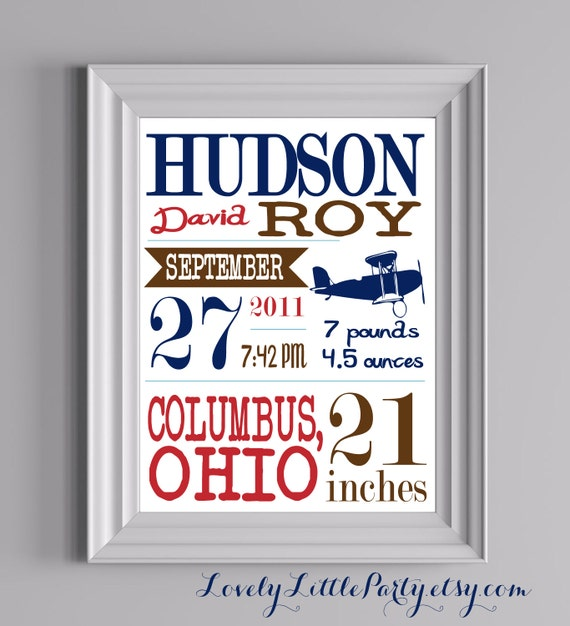 "Customized Airplane Theme Nursery Print - 8""x10"" - LOVELY LITTLE PARTY"