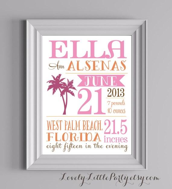 "Customized Palm Tree Theme Nursery Print - 8""x10"" - LOVELY LITTLE PARTY"