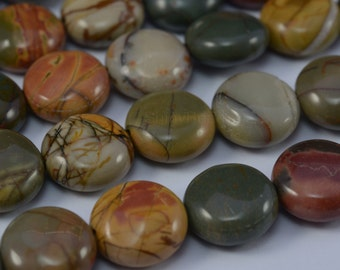 Piccaso jasper puffy coin bead 12mm 15 inch