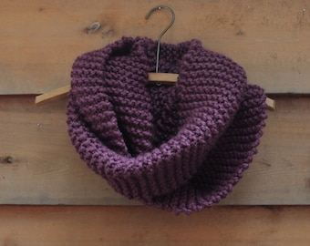 Oregon Scarf - Chunky knit circular scarf in deep eggplant purple color