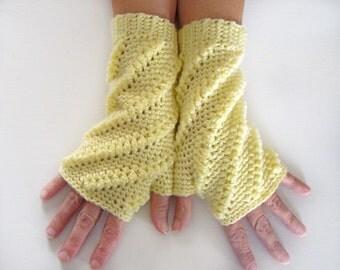Fingerless Mittens, Lemon Open Mitts, Crochet Wrist Warmer, Open Gloves, Yellow Mittens, Texting Mittens, Lemon Yellow Wrist Warmers
