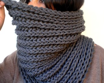 Stone Grey Harmonic Cowl Super Soft  Wool Neckwarmer Woman/Men Big  Chunky Cowl NEW