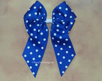 """Giant Polka Dot Grosgrain Hair Bow w/ Tails Down - Royal Blue RoseyBow® 6"""" x 8"""" Hair Bow - Long Tails Hair Bow - Choose From Many Colors"""