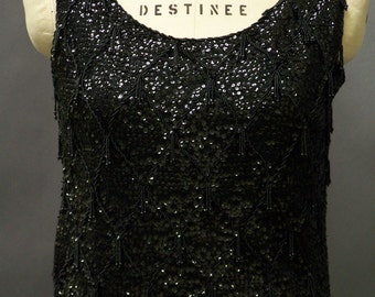 """Vintage 1960's Retro """"Mad Men"""" Black Sequin and Beaded Formal Tank Top"""
