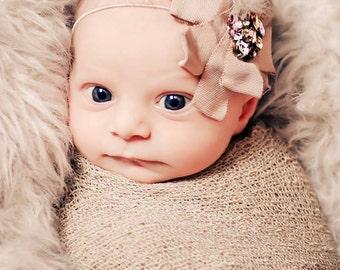 Cream Gemini Rhinestone Feather Newborn Headband Photography prop