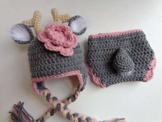 Newborn Crochet Deer Hat and Diaper Cover Made to Order