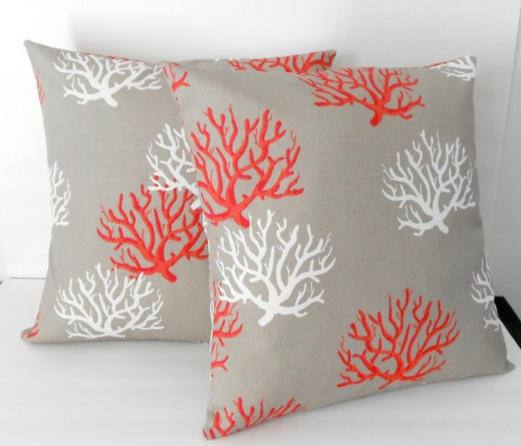 Items similar to Outdoor pillows patio decor coral pillow covers 18 X 18 inches decorative ...