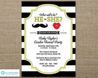 Gender Reveal Invitation - Gender reveal party - Gender reveal printable - Baby Reveal Invitation - Mustache gender reveal invitation