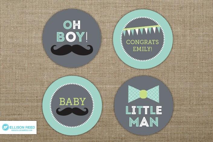 Little Man Baby Shower Mustache Cupcake Toppers Little Man