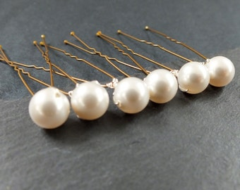 Pearl hairpins, set of  12 medium 8mm swarovski pearl hair pin, wedding hair, brides brides maid prom