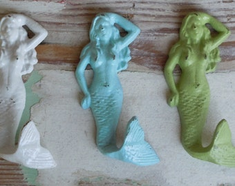 Mermaids Wall Decor / Set of 3 Mermaid Wall Hooks / Wall Decor / Nautical / Beach Decor / Decorative Wall Hook / Bathroom Hook