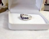 Gemstone Anniversary Ring Authentic Vintage Artisan Altered Chevron Design Genuine Iolite Water Sapphire Sterling Silver