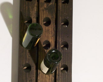 Winery Riddling Rack Distressed Wood Antique Style 15-Bottle Winerack