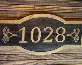 Carved Address Sign Large Antique Brass Finished Wood Custom Plaque