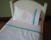 "American Girl /18"" Doll Bedding - 3 Piece Linen/Sheet Set - Sheet, Pillow, Pillowcase - Aqua Polka Dot"