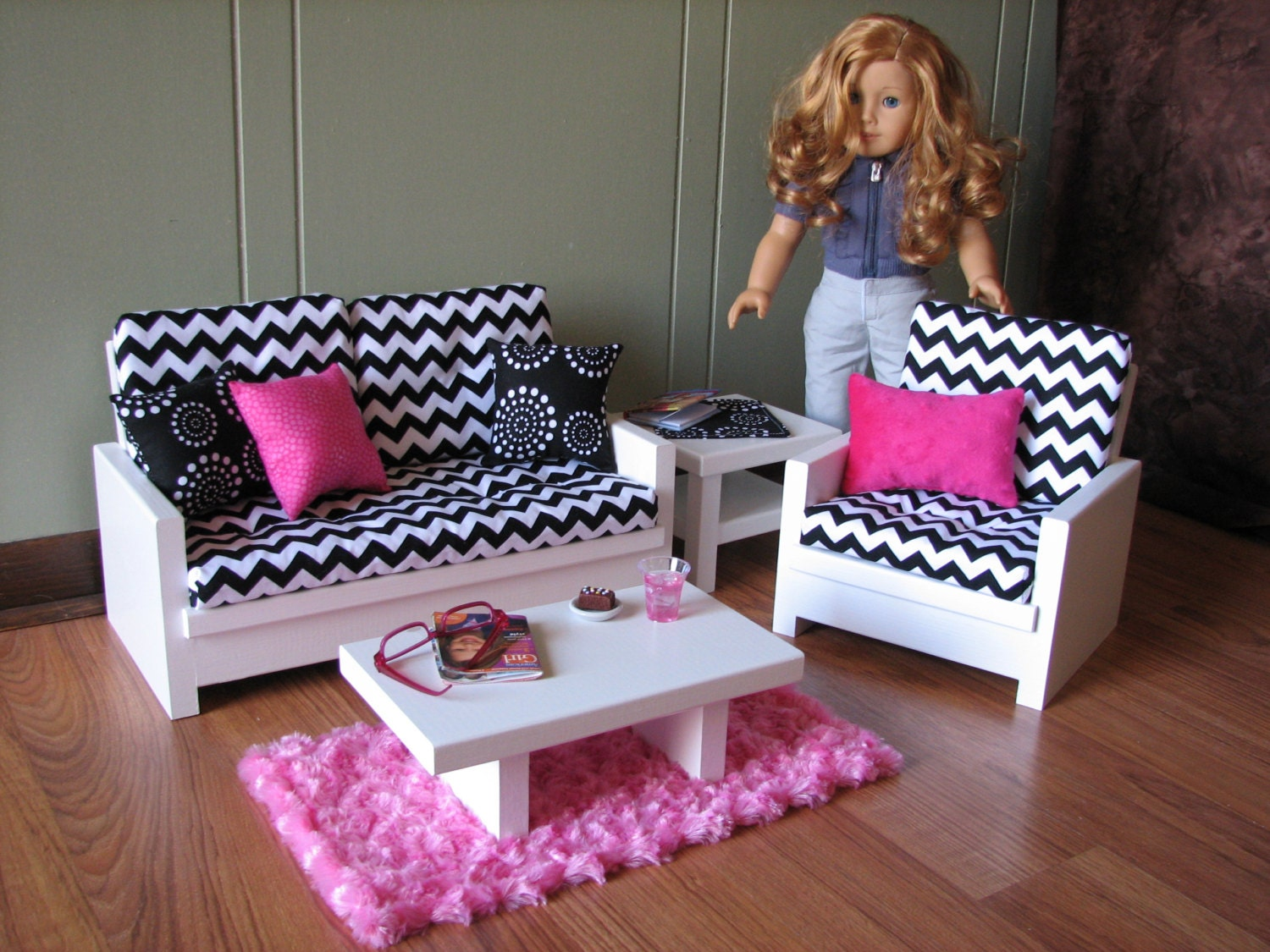 18 Doll Furniture American Girl Sized Living Room