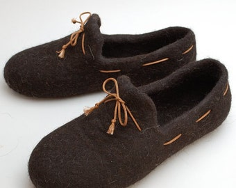 Felted wool slipper loafers coffee brown - handmade natural organic wool slippers - wool shoes